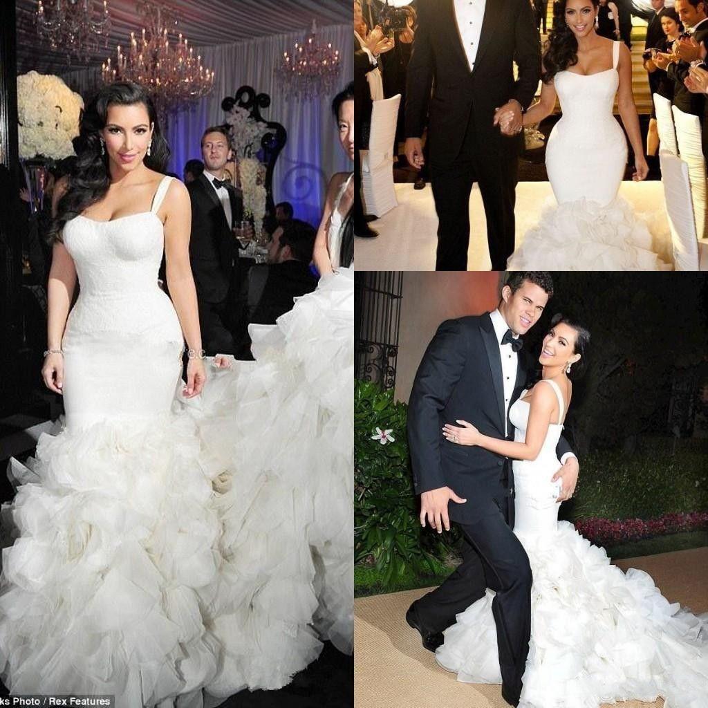 kim kardashian trumpet wedding dresses 2018 new sexy spaghetti strapls  organza ruffle mermaid contoured floor length lace wedding dress bridal  shop
