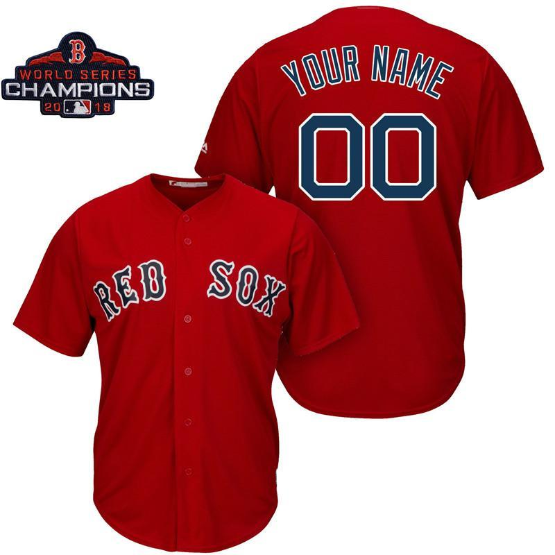 sneakers for cheap 687f6 1e251 2018 Mens Boston Red Sox 2018 World Series Champions Patch Custom Made  Redsox David Ortiz Steve Pearce Baseball Jersey From Mikubaby, &Price; | ...