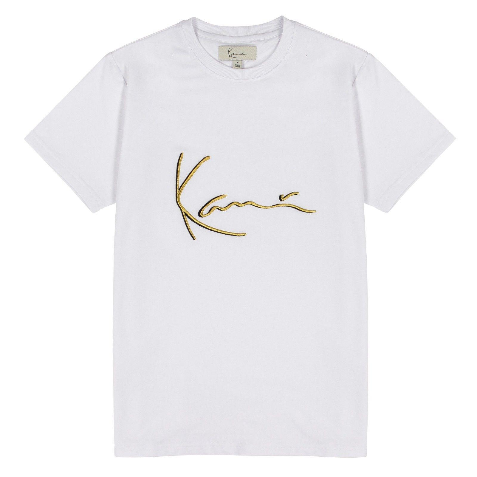 칼 카니 남성 골드 3D 자수 티 화이트 상징적 서명 T 셔츠 투팍