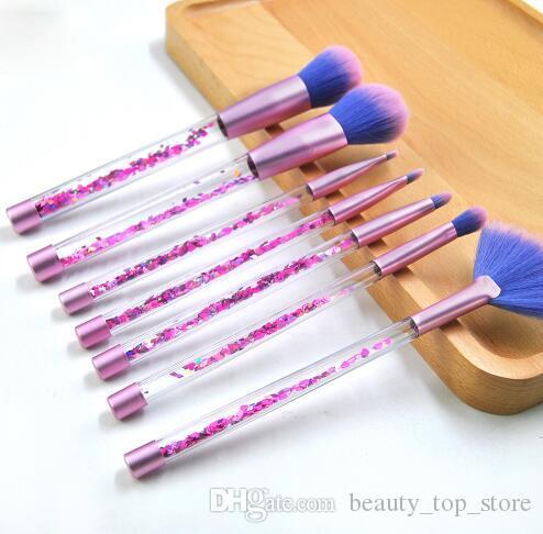 7 unids brillo cepillo de maquillaje de cristal conjunto diamante profesional resaltador pinceles corrector maquillaje sirena cepillo pincel kit herramientas