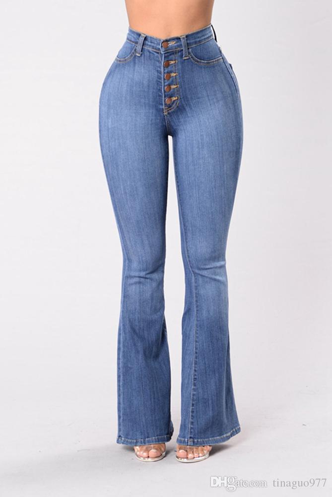 8272fa9a07909 ... Bell Bottom Women Jeans Jeans taille haute Jeans Jeans à boutonnière  boutonnée Pantalon évasé ...