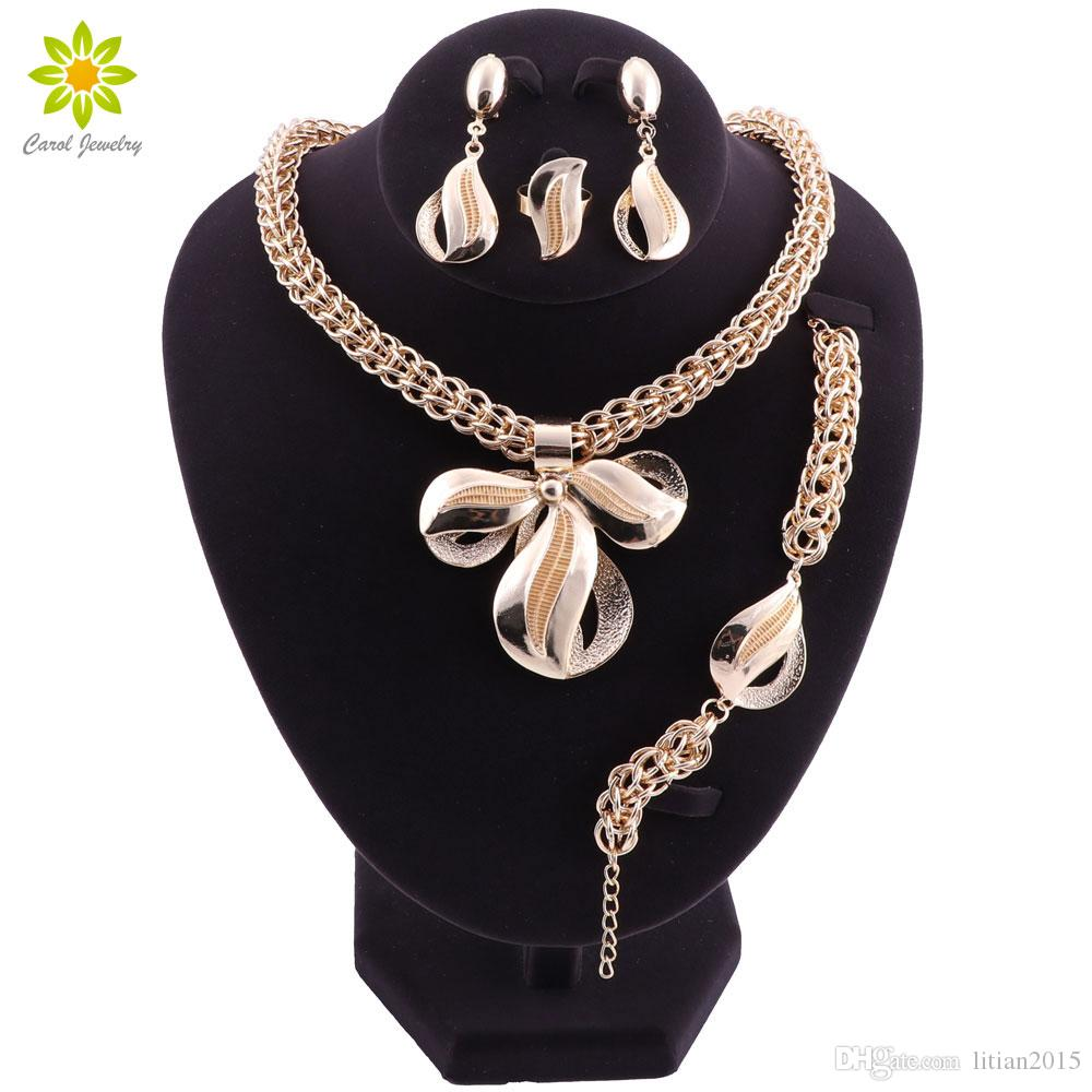 Brautjungfer Frauen Afrikanische Perlen Schmuck Set Vergoldete Halskette Ohrringe Schmuck Set Für Bräute Äthiopischen Schmuck