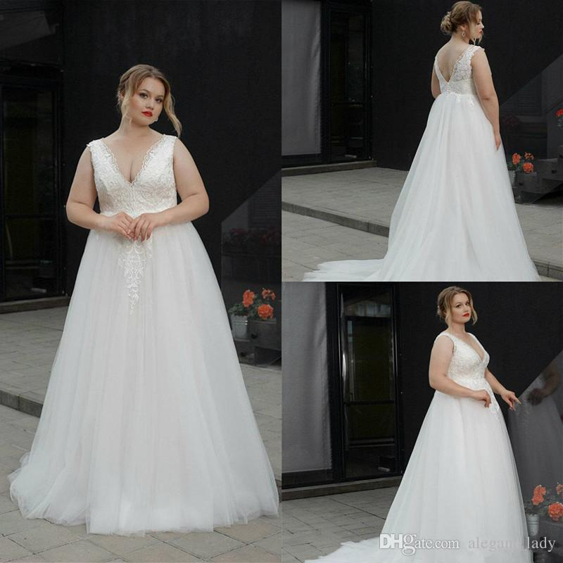 Discount 2019 Plus Size Wedding Dresses V Neck A Line Floor Length