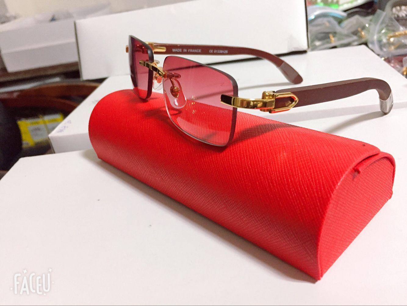 Quadro Hot Selling chifre de búfalo Óculos Moda Masculina Esporte óculos sem aro Decor Alloy Buffalo pernas de madeira Men Sunglasses lunettes de soleil