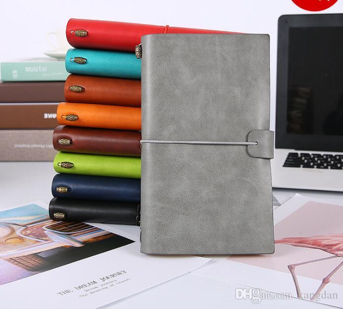 Couro artesanal do vintage couro genuíno travellers notebook diário diário sketchbook planejador de papel reutilizável escritório escola presente de aniversário
