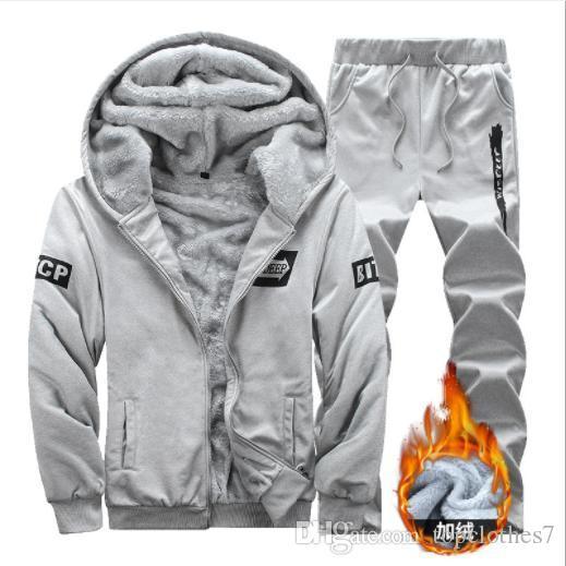 Горячие продажи мужчины спортивный костюм зима повседневная с капюшоном теплый спортивный костюм спортивный набор мужской зима толстые Slim Fit толстовка Би-би-си пот костюм