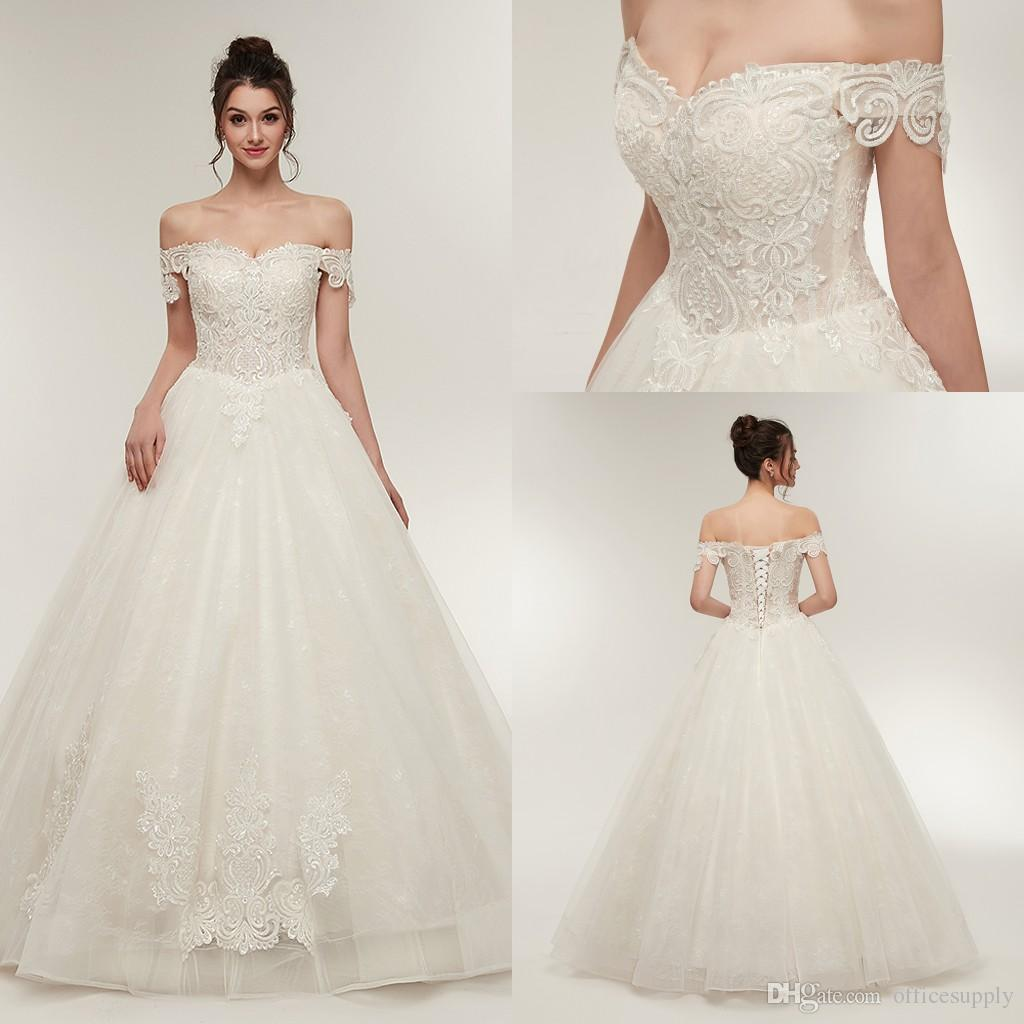New Elegant Off The Shoulder Corset Wedding Dresses 2018 Lace Appliques Tulle Bridal Gowns With Up Back Cps936: Lace Corset Wedding Dress With Tulle At Websimilar.org