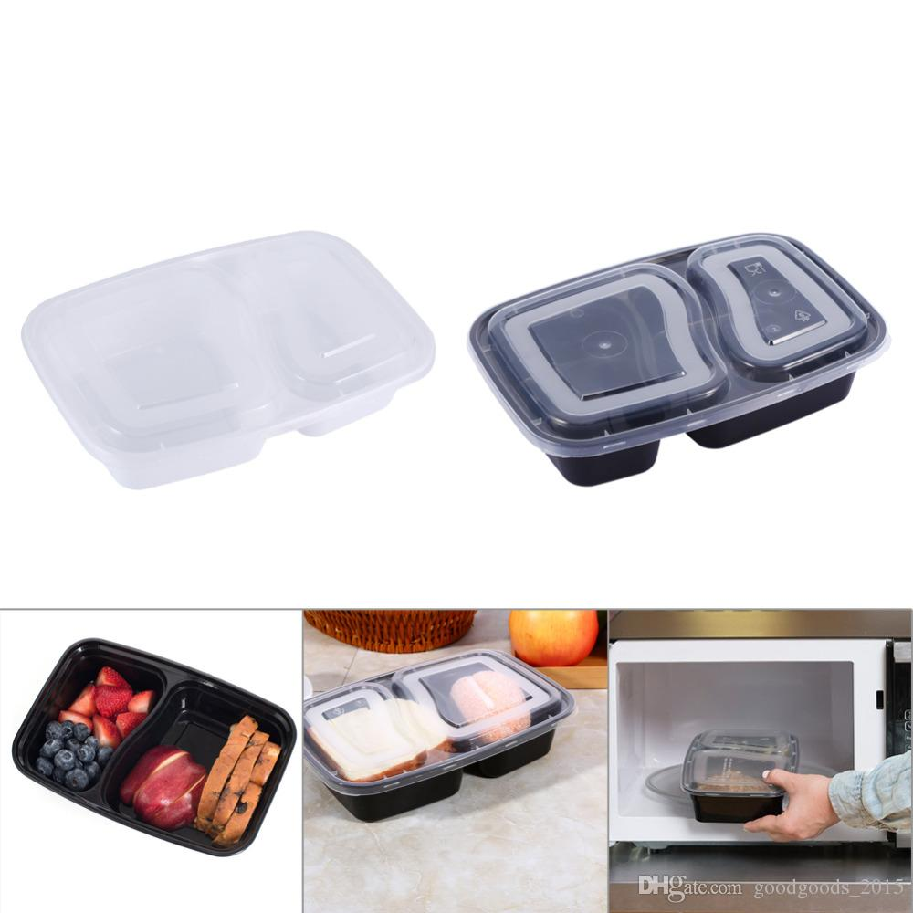 2 Compartment Microwave Heating Bento Lunchbox Reusable Plastic Food Storage Containers with Lids Black White Color 150set/lot c631