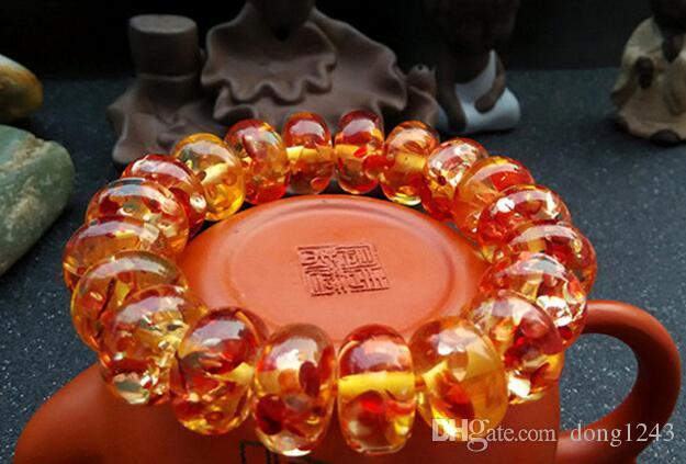 Second generation amber flower red rough stone polished beeswax bracelets for men and women