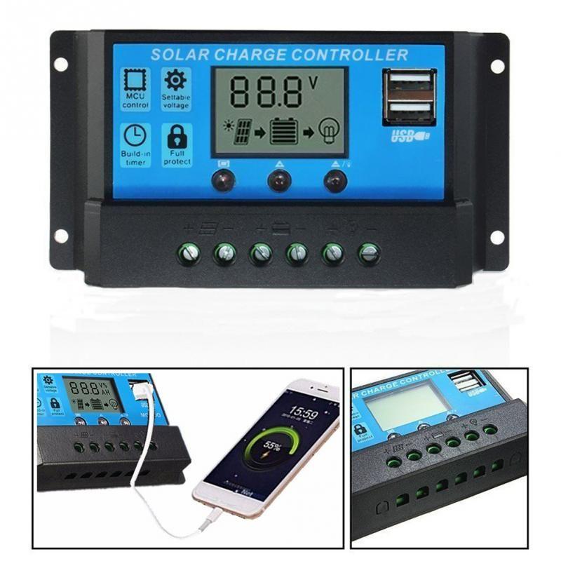 10A / 20A / Güneş Paneli Akü Aşırı yük Koruma Kurşun-asit bataryalar için Otomatik Regülatör Timer ile 30A 12V / 24V LCD Solar Şarj Regülatörü