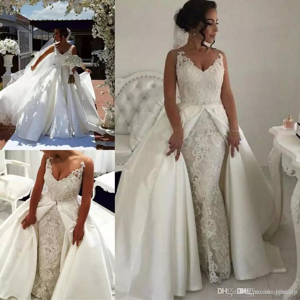 Chegada nova Luxo Sereia Vestidos De Noiva Com Trem Destacável Apliques de Renda Com Decote Em V País Vestidos de Casamento Vestidos de Noiva de Cetim