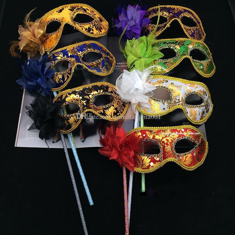 Masque de fête avec bâton fabriqué à la main vénitien demi visage fleur d'Halloween princesse de mascarade