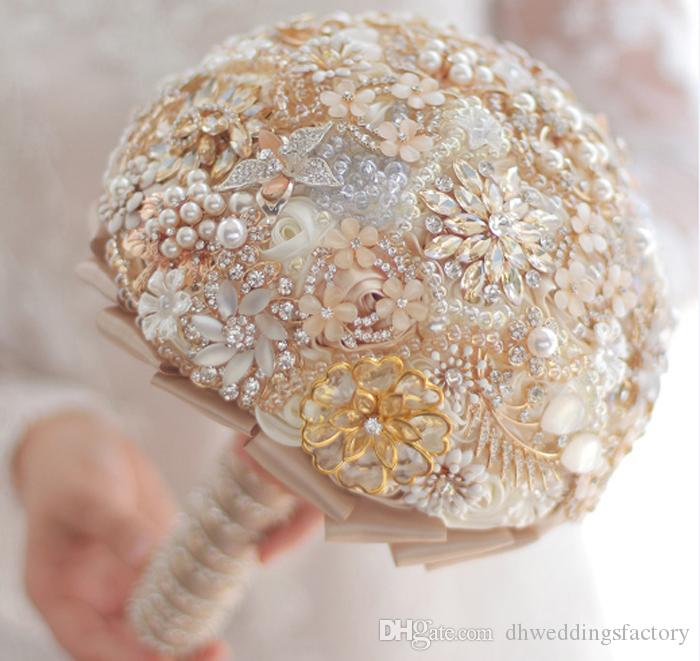 Champagne Gold Wedding Bouquet Beads Pearl Rhinestone Bouquet