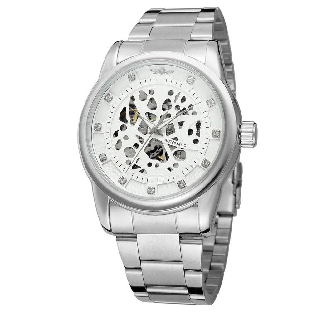 Lujo Royal Diamond Design Silver Case esfera blanca reloj Montre Homme Mens Relojes Relogio Male esqueleto mecánica reloj acero