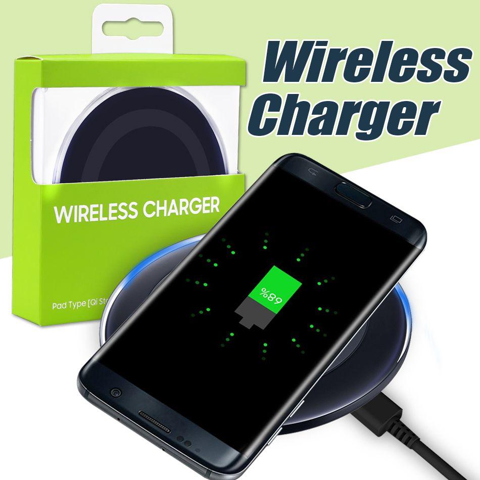 Per Iphone X Caricatore wireless universale Qi per Samsung S6 Note 8 Galaxy S7 Edge Mobile Pad di ricarica con cavo USB con scatola