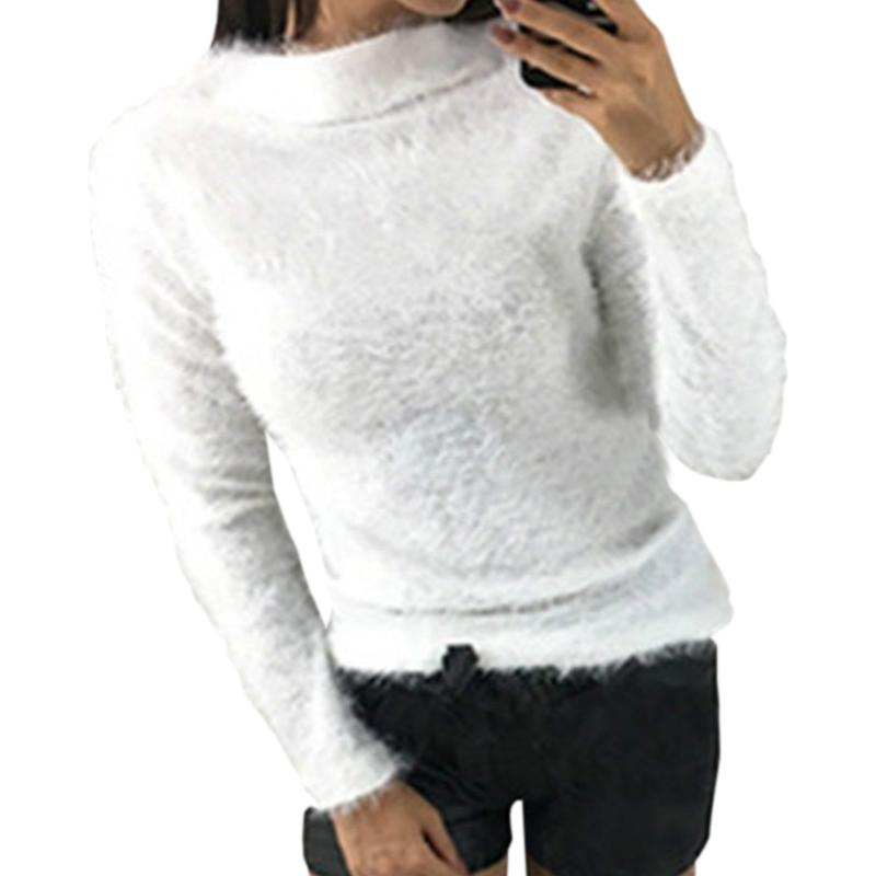 Girl Warm Fuzzy Turtleneck Knitted Women Sweater Top Autumn Winter Sweaters  Casual Pullovers Basic Long Sleeve Tops Plus Size UK 2019 From Armani10,