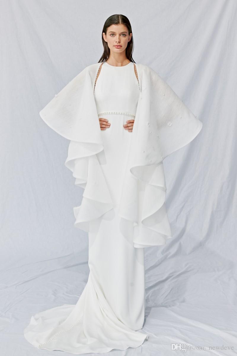 Aplike Boncuk Ile beyaz Uzun Kollu Düğün Aksesuarları Elbiseler Ceket Zarif Rickrack Saten Gelin Sarar Görünüyor