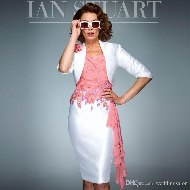 Fashion Sheath Perlen Mutter der Braut Kleider V-Ausschnitt Plissee Hochzeit Gast Kleid mit Jacken Appliqued Knielangen Formale Kleider