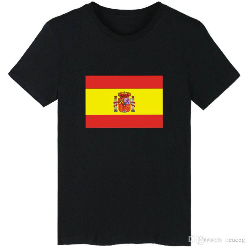 Espana t shirt Spain flag short sleeve Banner tees Leisure unisex clothing Black white grey cotton Tshirt