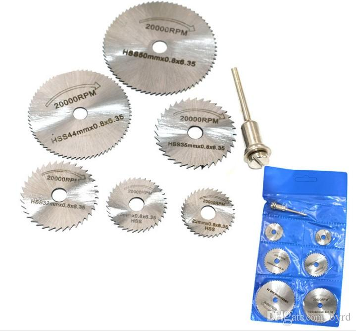 Accessori mulino elettrico 7pcs piece legno taglio acciaio ad alta velocità alluminio rame plastica softmetal piccola lama asta 3,2 millimetri BS061-1 / 2