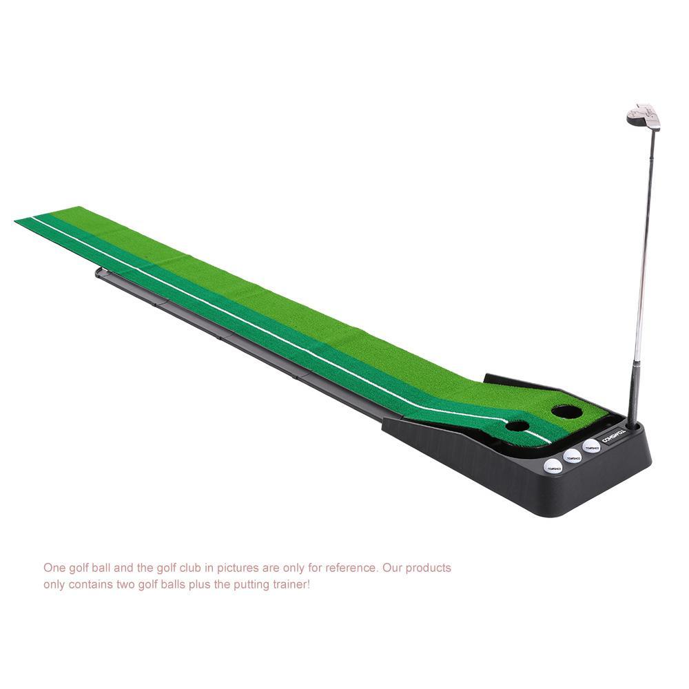 vente en gros intérieure 3m golf mettre l'entraîneur swing formateur avec indicateur d'alignement de retour de balle à deux trous pour débutants