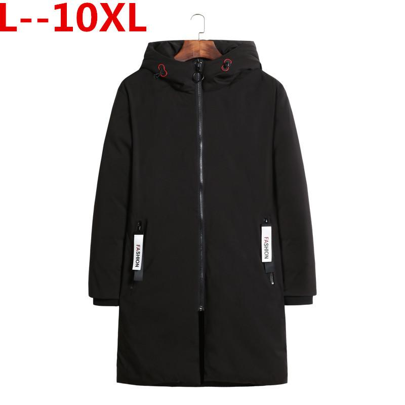 Plus 10XL 8XL 9XL 6XL New Mens Warm X-Long Coats Cotton Warm Jacket Padded Coat Hooded Parkas Coat Winter Top Quality Overcoat