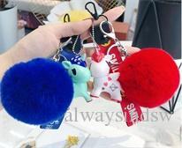 New ins explosion cute pony rabbit fur ball key ring cartoon doll lovers bag key chain pendant.