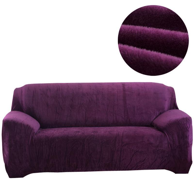 Funda de sofá de color sólido de franela Funda elástica para sofá seccional Solo L Sofá de sofá de dos plazas en forma de sofá para 145 a 185 cm