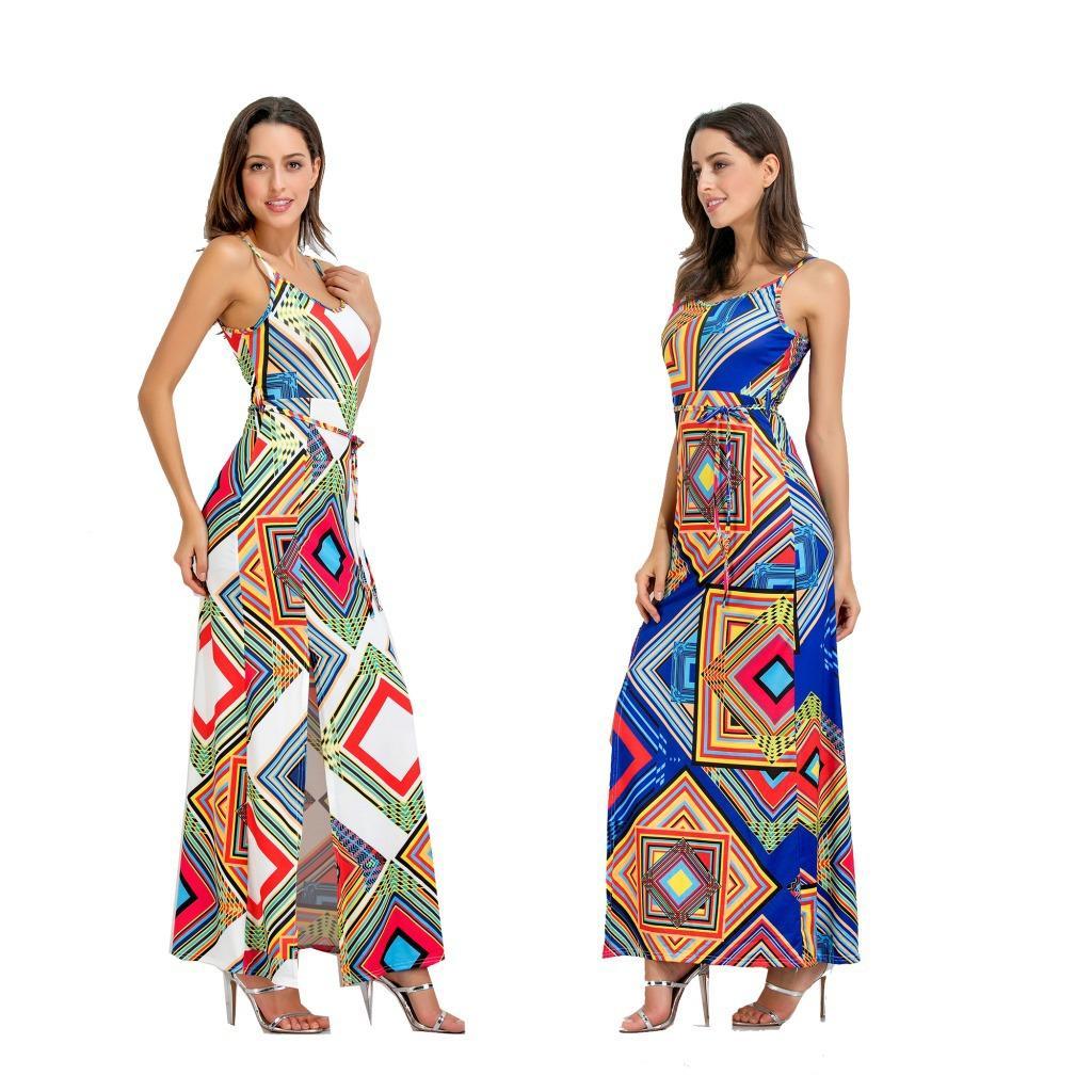 Cross Border Frauen tragen ein neues sexy Kleid mit Hosenträger-Print, einen europäischen und amerikanischen langen Rock, weiblich 7274