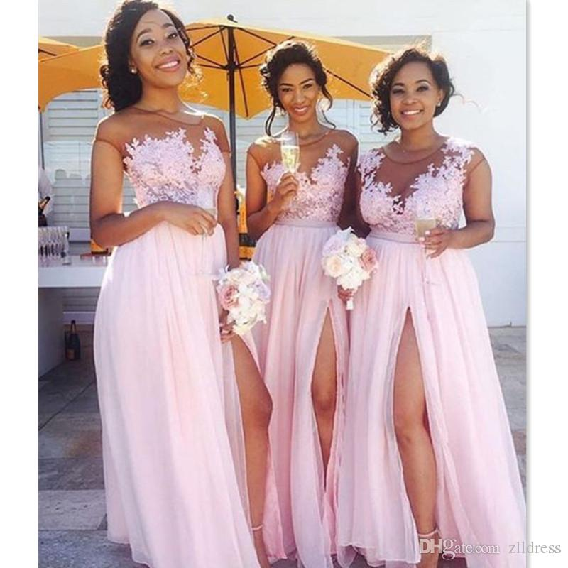 shop nuova versione vendita outlet Acquista 2018 Rosa Abiti Da Damigella D'onore Sheer Split Side A Line  Chiffon Cap Sleeve Maid Of Honor Abiti Da Festa Damigelle Cheap A $77.38  Dal ...
