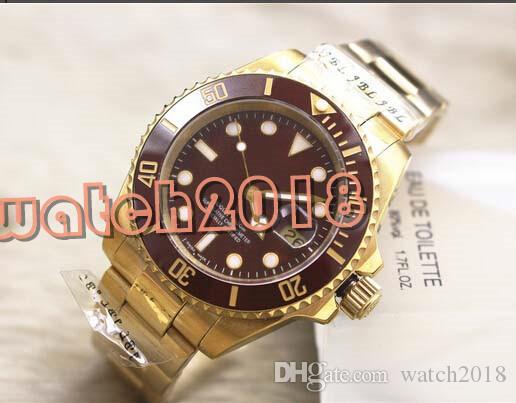 Luksusowy zegarek Nowy 116610LN Brown Dial Ceramic Bezel Stalowy Mens Watch Automatyczne Zegarki Zegarek Męskie
