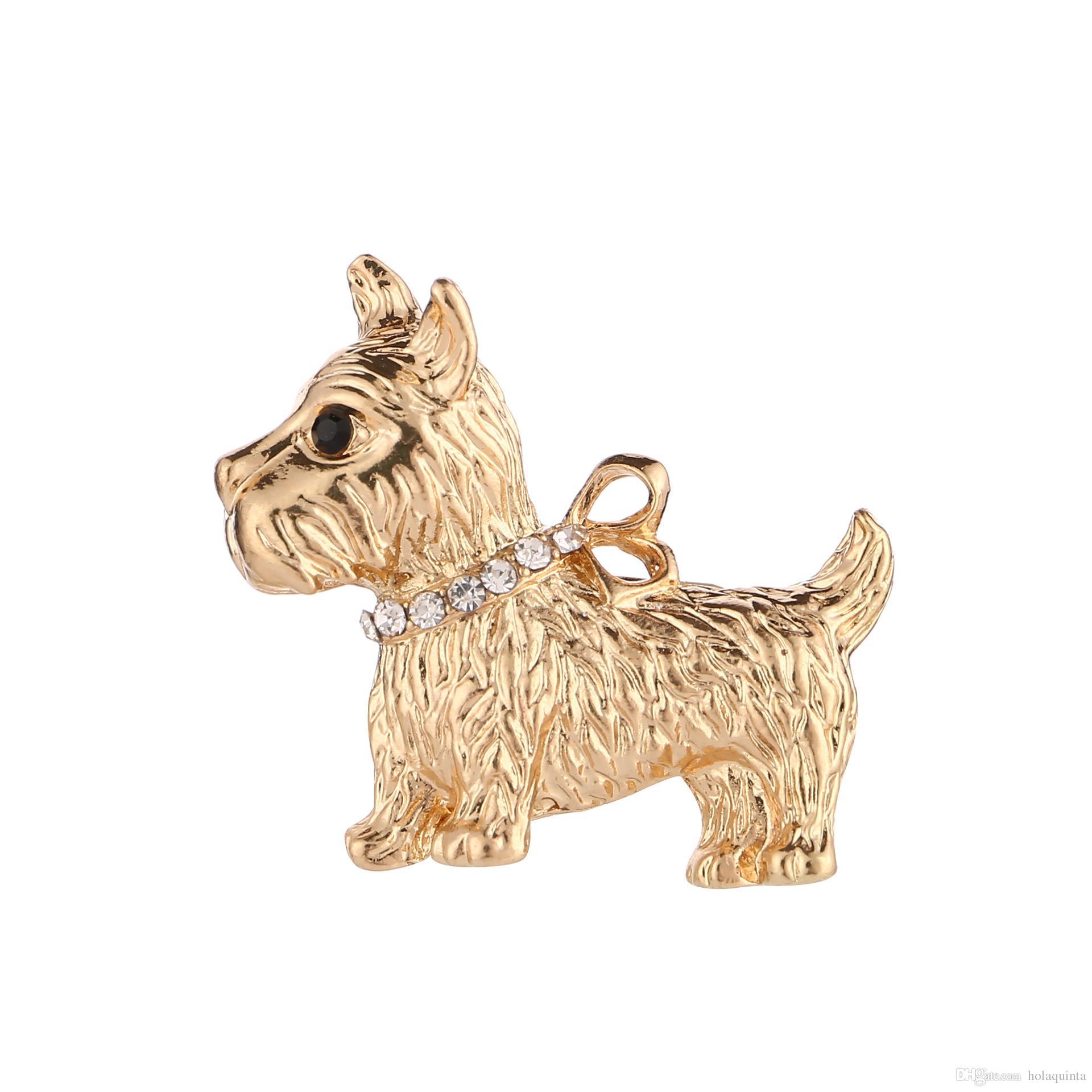 Moda Jóias Charme Ouro Dog Puppy Broche Novo Design Animal Bonito Jaqueta Acessórios Ornamentos