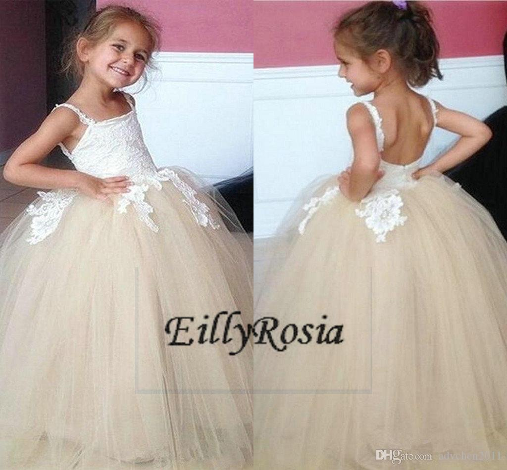 2018 White Champagne Flower Girls Dresses Ball Gown Lace Appliques Tulle Spaghetti Straps Girls Birthday Gift for Evening Party Formal Wear