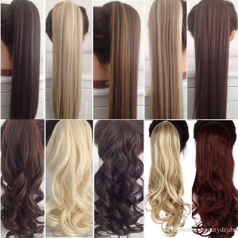 18inches Long Wavy Real Natural Ponytail Clip in Ponytails Hair Extensions Wrap Around on Synthetic Hair Piece for human