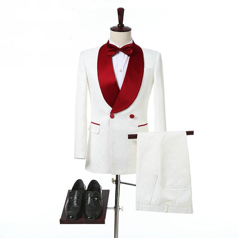 Ivory Doppio Petto smoking di nozze per lo sposo scialle rosso risvolto due pezzi su ordine convenzionale degli uomini dei vestiti (giacca + pantaloni)