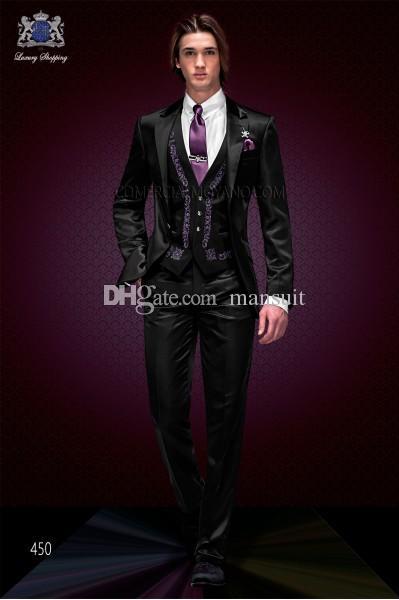 Custom Made Groomsmen Notch Revers Marié Smokings Broderie Hommes Costumes De Mariage / Bal Le Meilleur Homme Blazer (Veste + Pantalon + Gilet + Cravate) M258