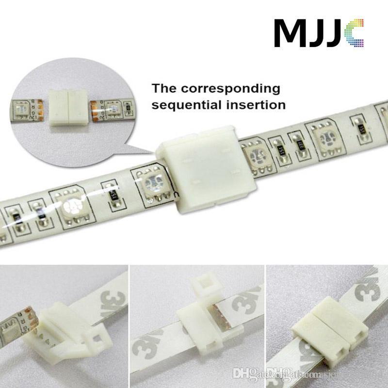SMD 5050 3528 RGB 단일 색상 LED 스트립 빛에 대 한 100pcs 8MM 2PIN 10mm 4PIN PCB 솔더리스 커넥터 어댑터