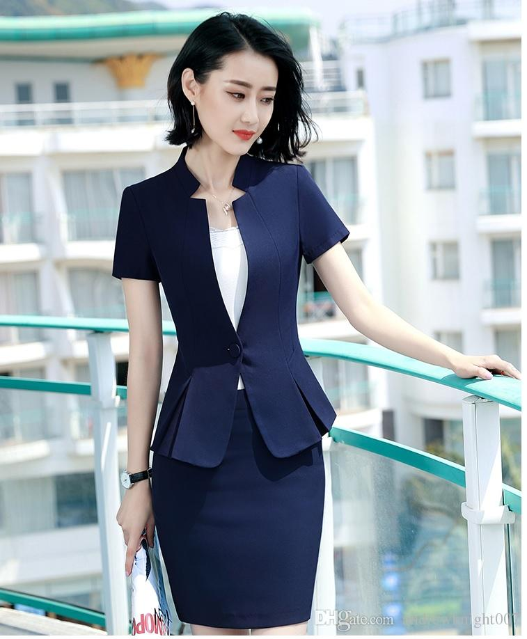 Womens Formal 2 Pieces Office Business Blazer and Skirt Suit Set Red White Blue Black S-4XL Plus size Short Sleeve Summer Work wear DK835F