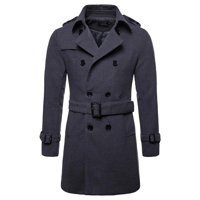 Abrigo de lana de los hombres Abrigos largos de lana caliente para hombre Chaqueta Casual Casaco masculino Palto Peacoat Abrigo de cuello largo Chaqueta de lana larga