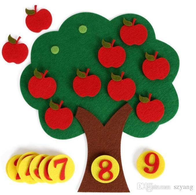 펠트 천 DIY 어린이 교육 장난감 내구성 디지털인지 어린이 Montessori 교육 용품 사과 나무 장난감 어린이 선물 SN2486
