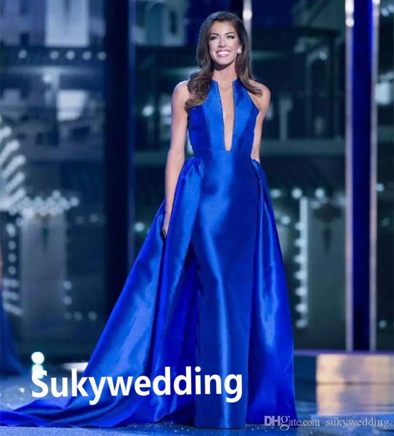 Elegant Royal Blue Evening Dresses with Detachable Skirt Satin Evening Gowns Prom Celebrity Red Carpet Dresses Long Floor Length