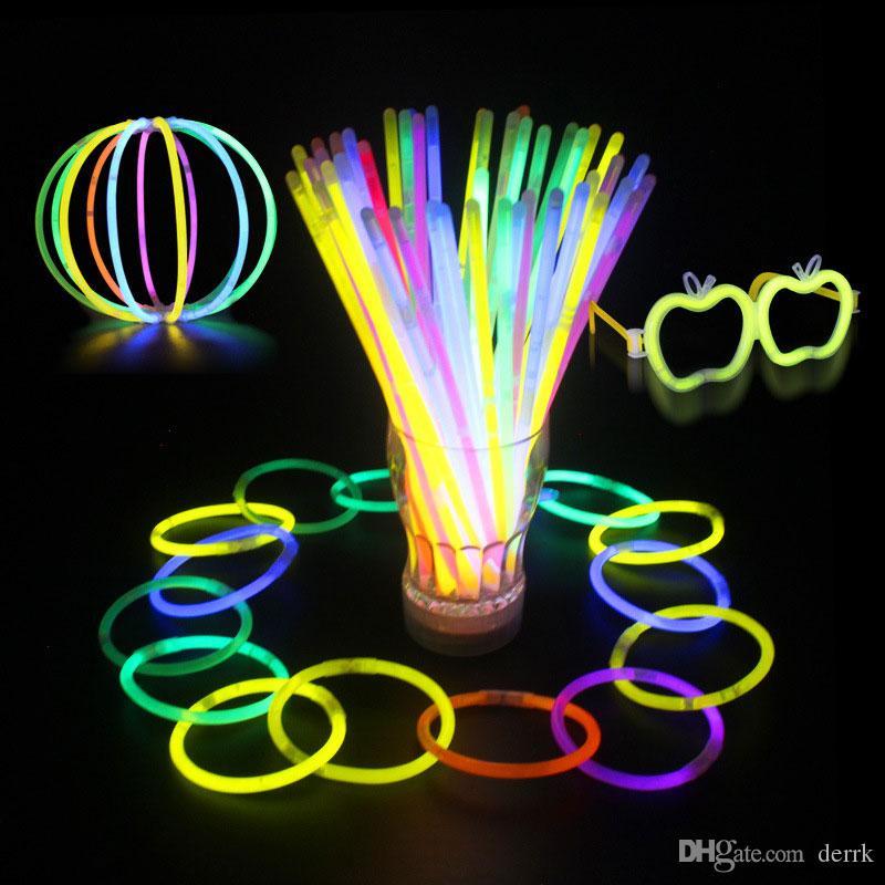 20cm 멀티 컬러 핫 글로우 스틱 팔찌 목걸이 네온 파티 LED 점멸 라이트 스틱 지팡이 참신 장난감 LED 보컬 콘서트 LED 플래시 스틱