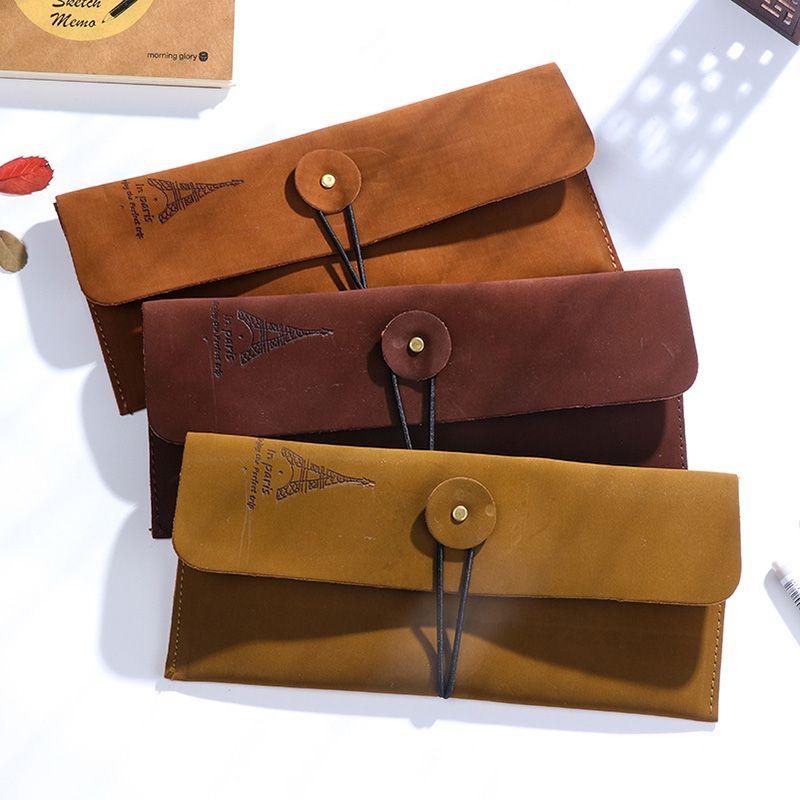 Criativa Torre Vintage Leather caixa de lápis Pen Box For Kids presente de Material Escolar papelaria coreana