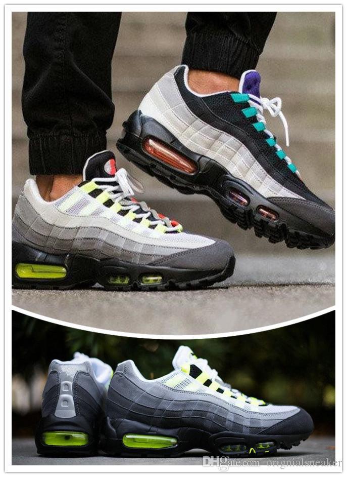 2018 Yeni Ucuz Erkek spor 95 koşu ayakkabıları, Premium OG neon Gri spor ayakkabılar spor ayakkabılar boyutu 36-45 Soğuk