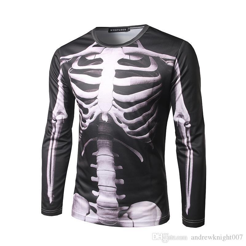 Джамбо печати череп новинка Хэллоуин костюм унисекс с длинным рукавом футболка Cos толстовка DK9553BK