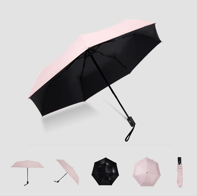 Fashion White Auto Open Auto Close Umbrella Rain Women Men 3 Folding Automatic Umbrella Black Coating Sun Umbrella16