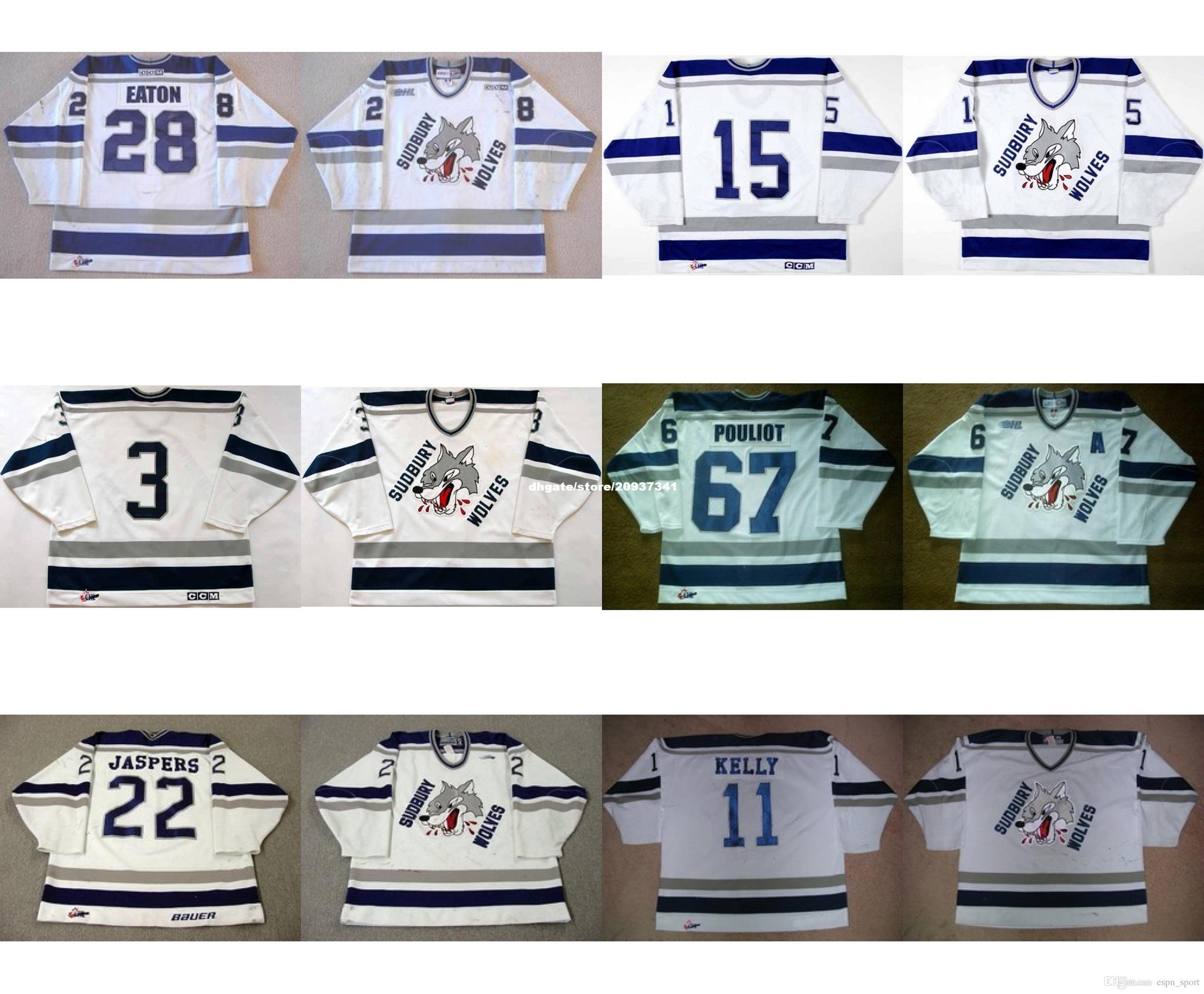 custom Customize OHL Sudbury Wolves Jersey Mens Womens Kids 3 Matthew Hodges 15 Kevin Beaumont 22 Jason Jaspers Hockey Jerseys Goalit Cut