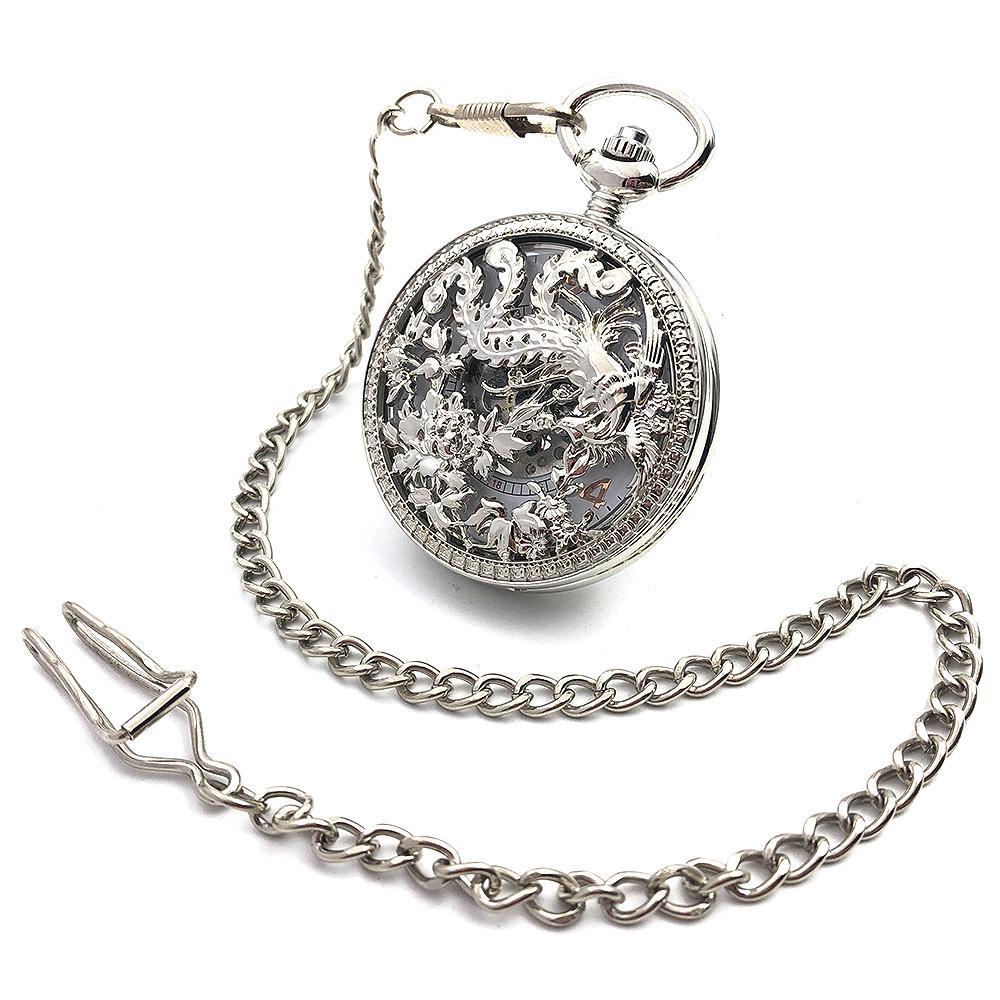 Çiçek Gravür İskelet Steampunk Gümüş Ton Vaka El Rüzgar Mekanik erkek Cep İzle w / Zincir Yarım Hunter İzle