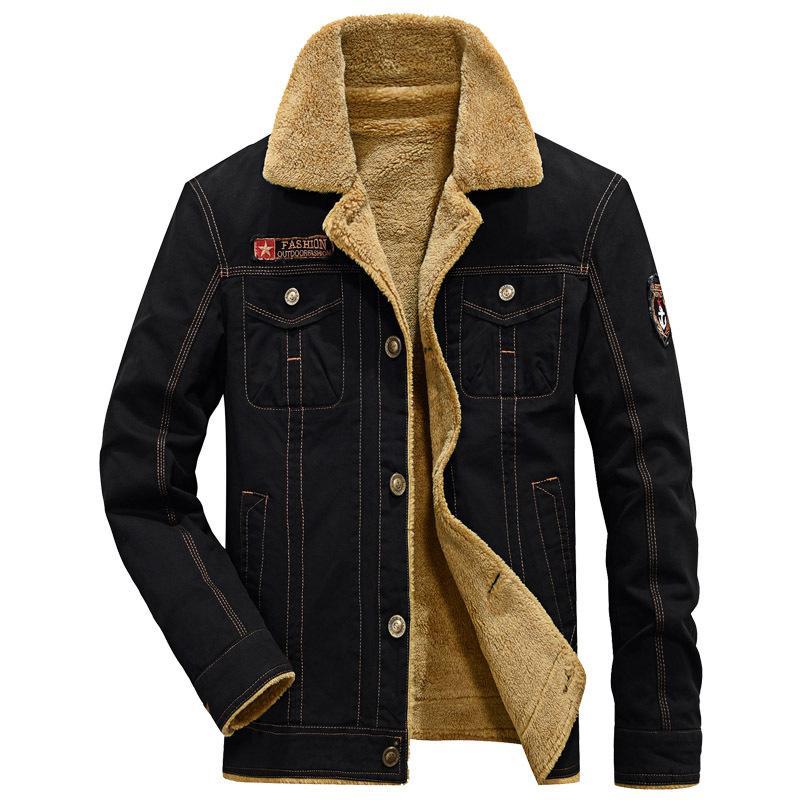 Thicken Fleece Winter men Jackets Military style Fur Collar Coats Cotton Men's Parkas Casual Male Outerwear 5XL
