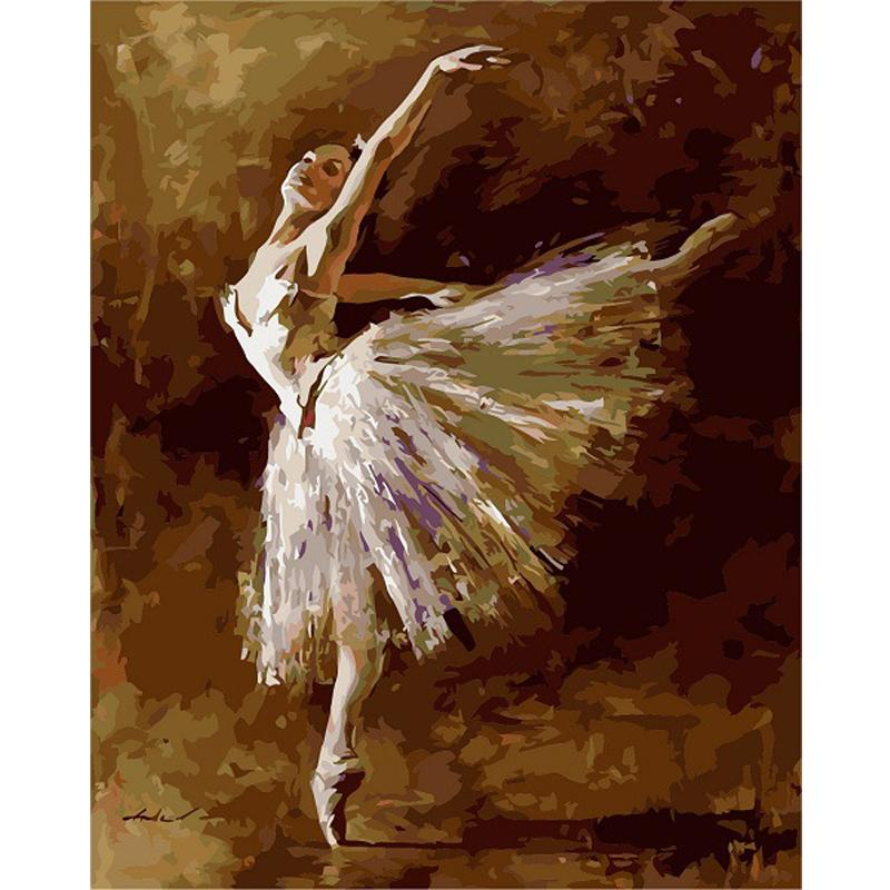 framed digital oil painting by numbers diy home decoration craft unique gift picture paint on canvas Ballet dancer 40*50cm